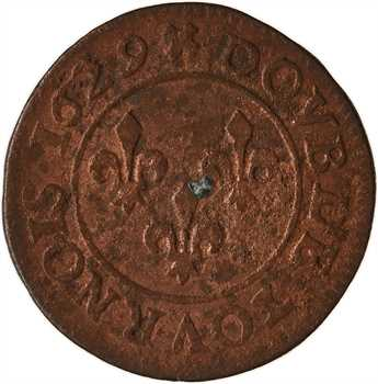 Louis XIII, double tournois 6e type, 1629 Lyon
