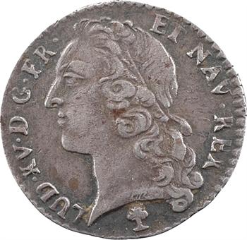 Louis XV, vingtième d'écu au bandeau, 1743 Troyes