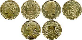 Ve République, série de 7 essais de 20 centimes, 1961 Paris