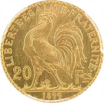 IIIe République, essai-piéfort de 20 francs Marianne, 1899 Paris, sous coque PCGS SP62