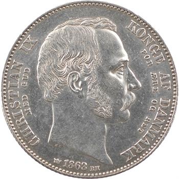 Danemark, Christian IX, 2 rigsdaler pour l'accession au trône, 1863 Copenhague