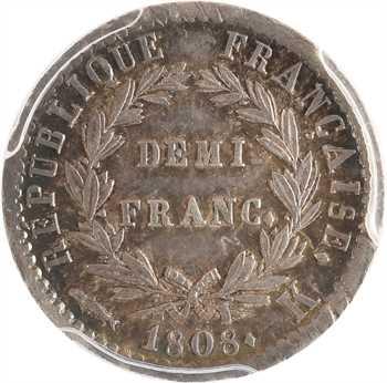 Premier Empire, demi-franc République, 1808 Bordeaux, PCGS AU58