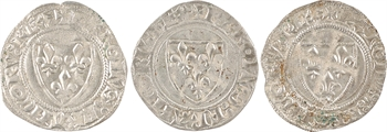 Charles VI, lot de 3 blancs guénar 2e et 4e émission, Tournai
