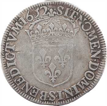 Louis XIV, demi-écu à la mèche longue, 1652 Troyes
