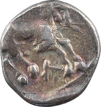 Allobroges, denier au cervidé à droite, classe IV, IIe – Ier siècle av. J.-C