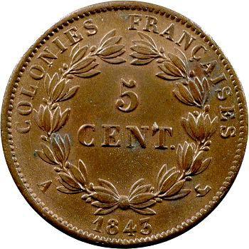 Louis-Philippe, 5 centimes des colonies françaises, 1843 Paris