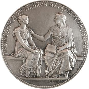 Roty (L.-O.) : Enseignement secondaire des jeunes filles, en argent, 1884 Paris