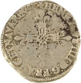 Henri IV, quart d'écu, croix fleurdelisée de face, 1610 Angers