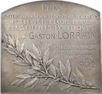 Roty (L.-O.) : In Labore Quies, prix de Sciences Politiques, fonte, 1902 Paris