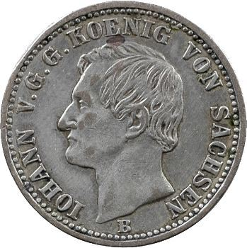 Allemagne, Saxe (royaume de), Jean, sixième de thaler, 1860 Hanovre