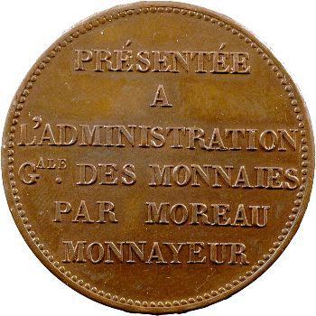 Charles X, module de 5 francs, essai de Moreau, 1824 Paris