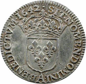 Louis XIII, douzième d'écu d'argent, 2e type (1er poinçon), 1642 Paris