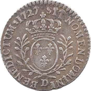 Louis XV, vingtième d'écu aux rameaux d'olivier, 1727 Lyon