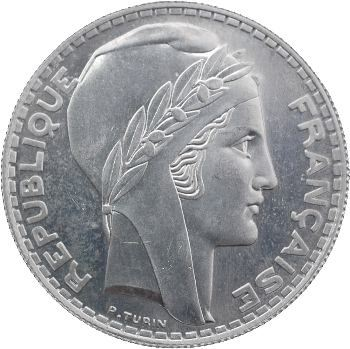 IIIe République, essai de 20 francs Turin, aluminium, 1938 Paris