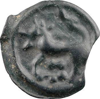 Sénons, potin à la tête casquée et à la rosace, c.IIe-Ier s. av. J.-C.