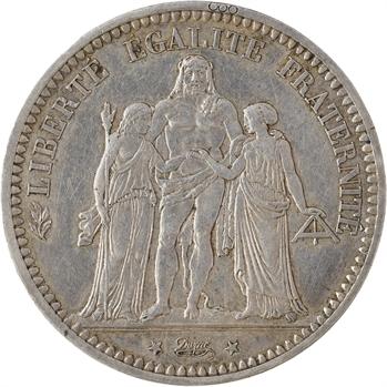 IIIe République, 5 francs Camélinat transformée en médaille de mariage, 1871 (1852) Paris