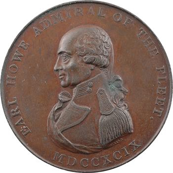 Royaume-Uni, la mort amiral Howe (et la défaite de la flotte française), par Wyon, 1799 Londres