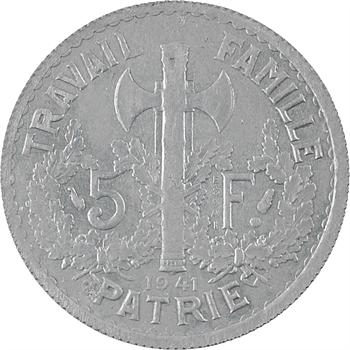 État français, essai uniface de 5 francs Pétain type I en zinc, 1941 Paris