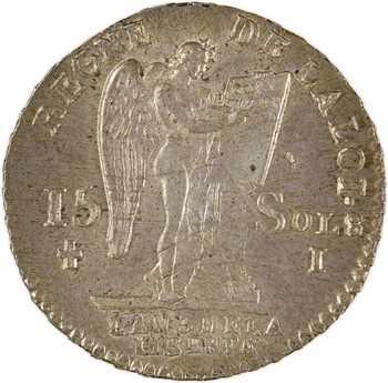 Constitution, 15 sols FRANÇOIS, An 3, 1er semestre, 1791 Limoges