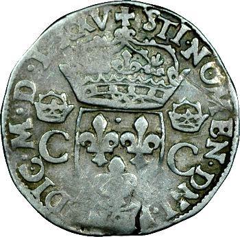 Henri III (au nom de Charles IX), teston 1er type, 1575 Rennes, légende fauté