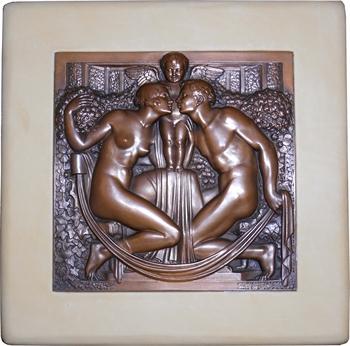 Bazor (L.) : l'Amour unissant un couple, électrotype uniface, 1926 Rome