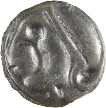 Éduens, potin au cheval marin, classe II (Mont-Beuvray), c.60-50 av. J.-C
