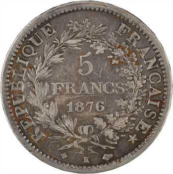 IIIe République, 5 francs Hercule, 1876 Bordeaux