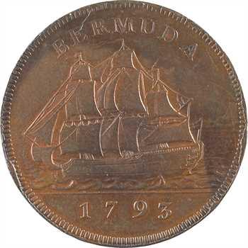 Royaume-Uni, îles Bermudes, Georges III, penny, 1793 Soho