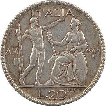 Italie (royaume d'), Victor-Emmanuel III, 20 lire, 1927/VI Rome