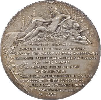 Russie/France, pose de la première pierre du pont Alexandre III à Paris, par Daniel-Dupuis, 1896 Paris