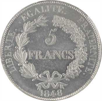 IIe République, concours de 5 francs par Gayrard, non signé, 1848 Paris, PCGS SP62