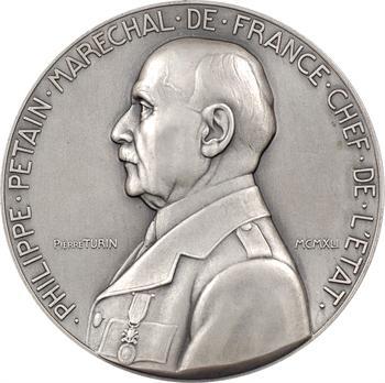 IIe Guerre Mondiale, le Maréchal Pétain et la Caisse des écoles du XIe, par Pierre Turin, moyen module, 1942 Paris