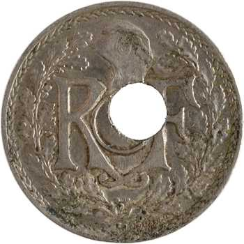 IIIe République, 25 centimes Lindauer, 1914 Paris, variété trou décentré