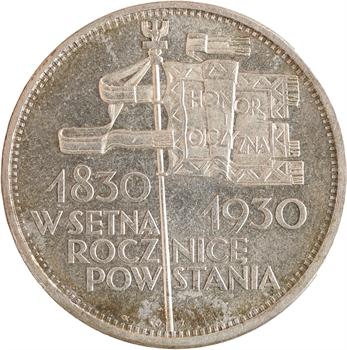 Pologne (république de), 5 zloty, centenaire de la révolution de 1830, 1930 Varsovie