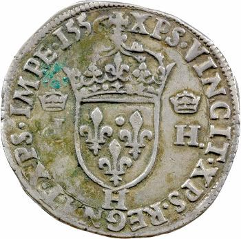 Henri II, teston à la tête nue 1er type, 1556 La Rochelle