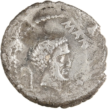 Marc Antoine et Jules César, denier, Gaule Cisalpine, novembre 43 av. J.-C