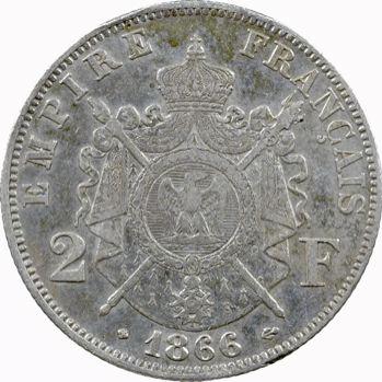 Second Empire, 2 francs tête laurée, 1866 Strasbourg