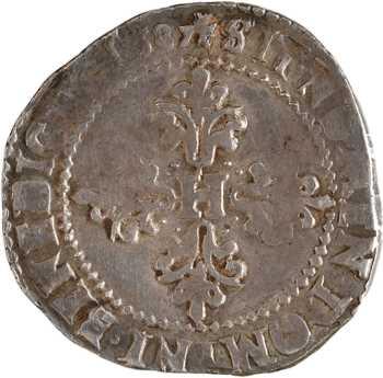 Henri III, demi-franc au col plat, 1587 Angers