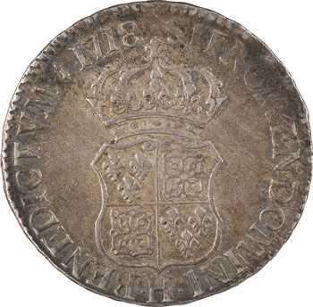 Louis XV, écu de France-Navarre, 1718 La Rochelle
