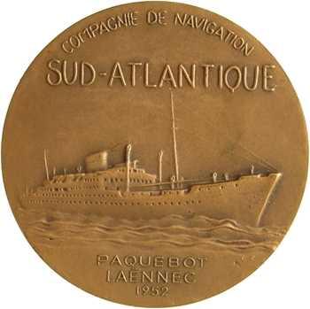 Compagnie de navigation sud-atlantique, le paquebot Laënnec, par Fraisse, dans sa boîte, 1952 Paris
