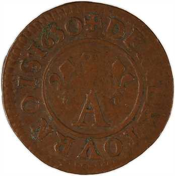 Dombes (principauté des), Gaston d'Orléans, denier tournois 10e type, 1650 Trévoux