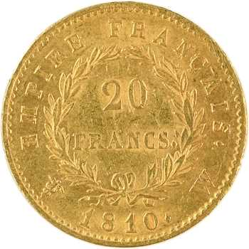 Premier Empire, 20 francs Empire, 1810 Lille