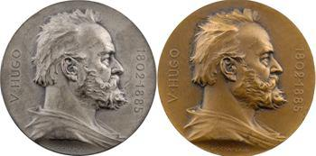 IIIe République, coffret de deux médailles du centenaire de la naissance de Victor Hugo, par Chaplain, 1902 Paris