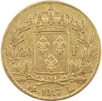 Louis XVIII, 20 francs buste nu, 1817 Bayonne