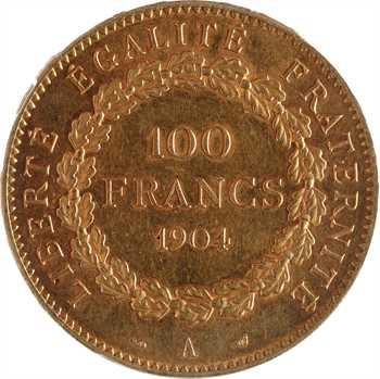 IIIe République, 100 francs Génie, 1904 Paris, PCGS AU58