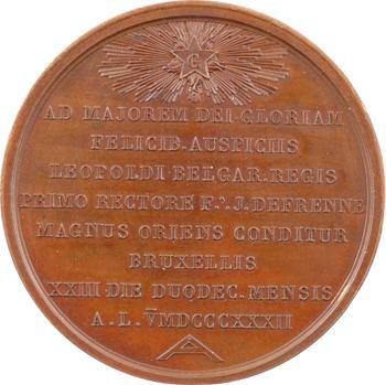 Belgique, Grand Orient de Bruxelles, médaille maçonnique, 1832