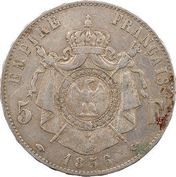 Second Empire, 5 francs tête nue, 1856 Paris, variété au petit différent