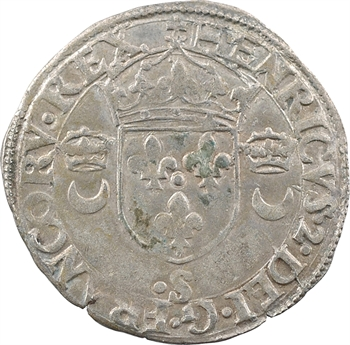 Henri II, douzain aux croissants, (juillet à novembre) 1550 Troyes