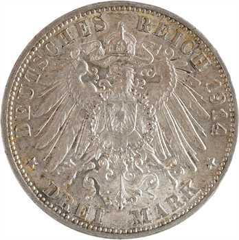 Allemagne, Wurtemberg (royaume de), Guillaume II, 3 mark, 1914 Stuttgart
