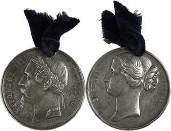 Second Empire, mariage de Napoléon III et Eugénie, paire de médailles, 1853 Paris